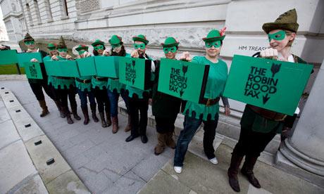 """Un gruppo di (rari) sostenitori britannici della """"Robin Hood tax"""""""