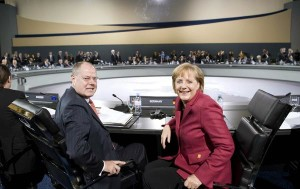 Peer Steinbrück and Angela Merkel at the G20 in Pittsburgh in 2009