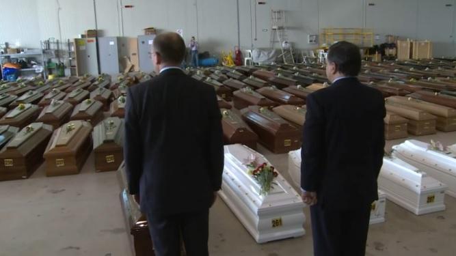 Letta e Barroso rendono omaggio alle vittime della strage di Lampedusa