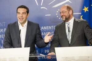Alexis Tsipras with Martin Schulz