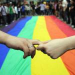 Gay and lesbian activists form a human c