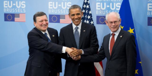 Foto di rito con il Presidente della Commissione europea, Josè Manuel Barroso e il Presidente del Consiglio europeo, Herman Van Rompuy