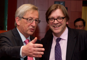 Juncker (on the left) and Verhofstadt