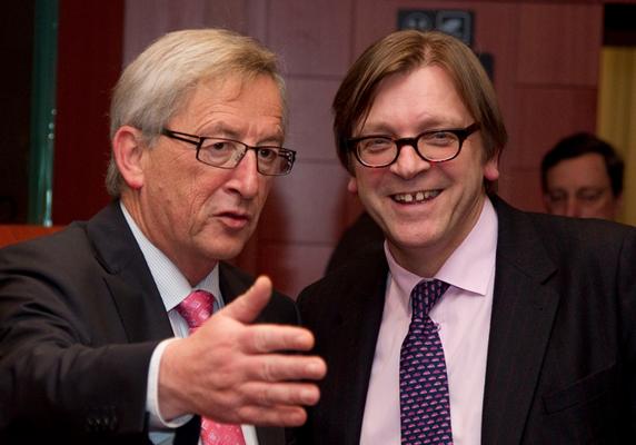 Juncker (on the left) and Verhofstadt