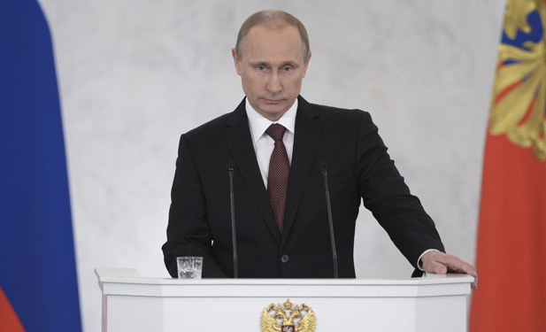 Russian President Putin addresses the Federal Assembly at the Kremlin in Moscow
