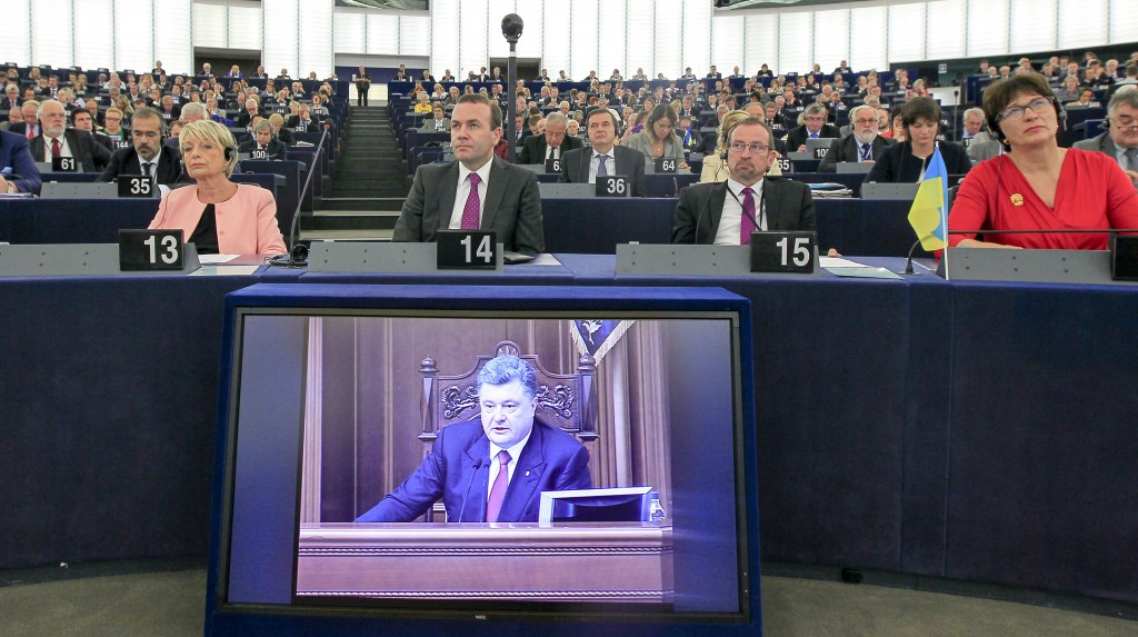 The intervention in plenary in Strasbourg Ukrainian President Poroshenko