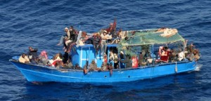 Would-be immigrants await rescue on their boat, 48 nautical miles off Malta