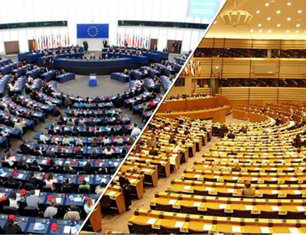 Le due Aule del parlamento europeo: Strasburgo e Bruxelles