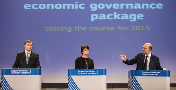 Valdis Dombrovskis, Marianne Thyssen e Pierre Moscovici presentano i pareri sui bilanci dei Paesi dell'eurozona