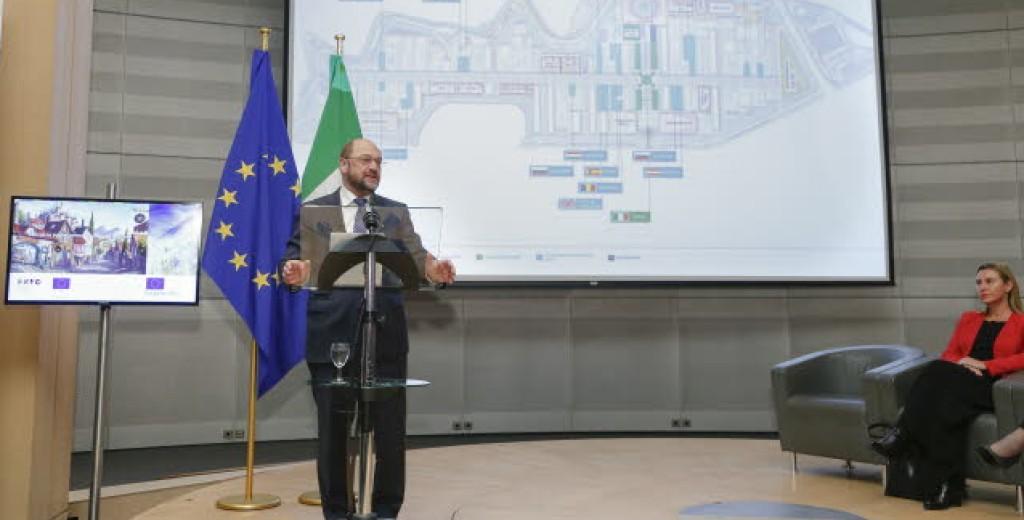 Schulz e Mogherini alla presentazione dell'Expo al Parlamento europeo