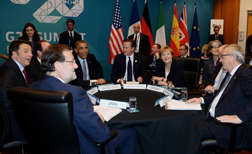 I leader europei con Obama in un incontro al margine del G20 in Australia - ph. Commissione europea
