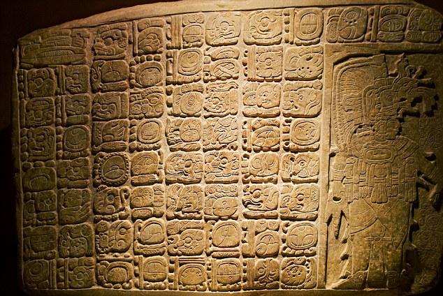 A Mayan stelae from the site of La Corona on display in Guatemala City's National Archaeology Museum.