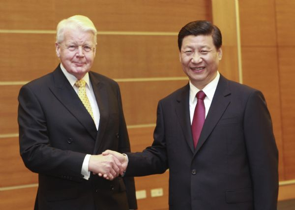 Grimsson in un incontro con il vice presidente cinese Xi Jinping
