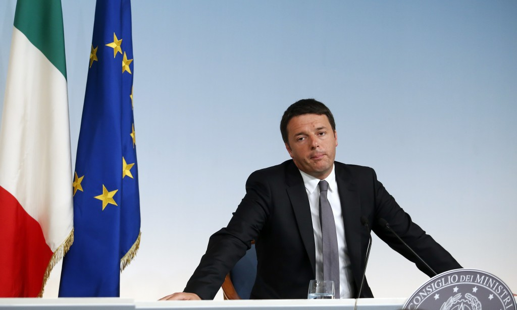 Italy's PM Renzi attends a media conference in Rome