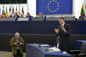 Matteo Renzi nell'Aula di Strasburgo (foto del Servizio fotografico del Parlamento europeo)
