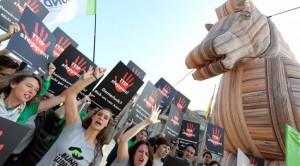 Una manifestazione contro il Ttip