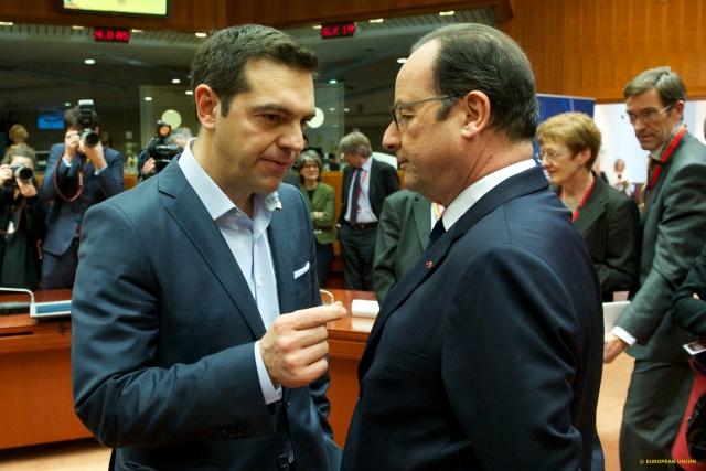 Tsipras e Hollande al Vertice Ue di febbraio - foto Consiglio europeo