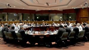 Ministri economici dell'Ue riuniti in una sessione del consiglio Ecofin