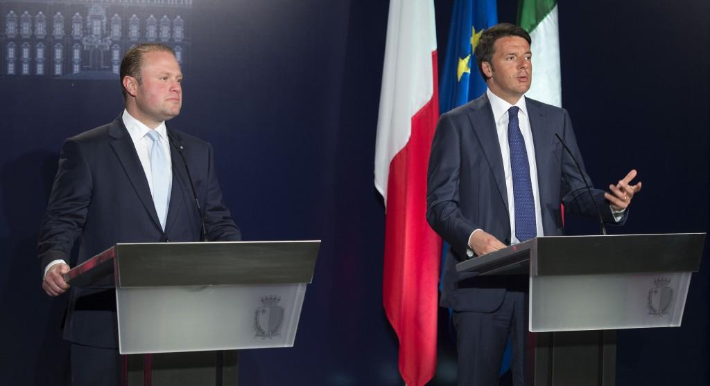 Il premier italiano Matteo Renzi e quello maltese Joseph Muscat
