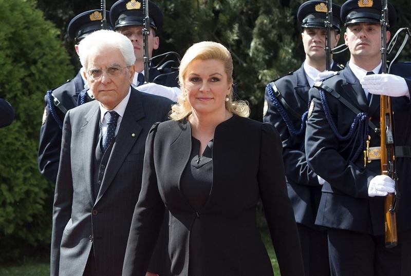 Il presidente della Repubblica Sergio Mattarela con l'omologa croata Kolinda Grabar-Kitarović