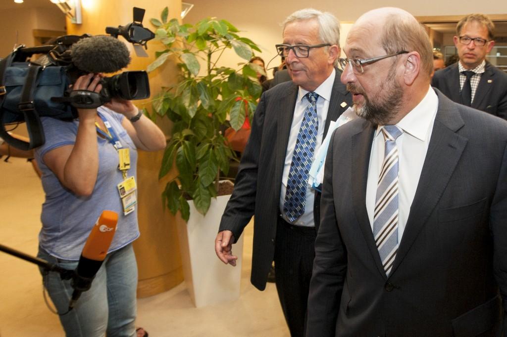 Jean-Claude Juncker e Martin Schulz dopo la conferenza dei capigruppo - foto Parlamento Ue