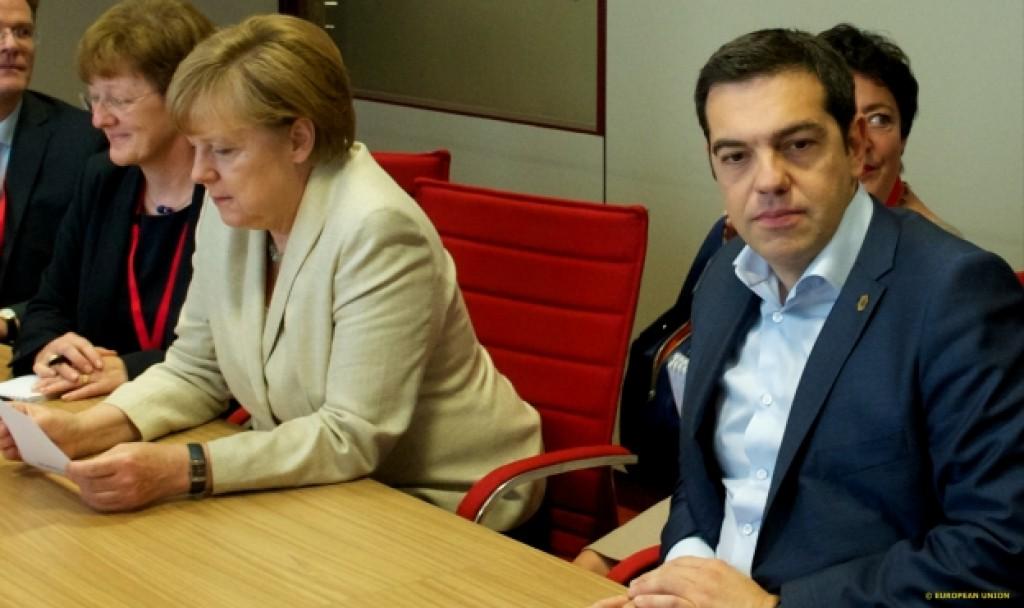 Merkel e Tsipras nell'incontro a margine del Vertice - foto Consiglio Ue