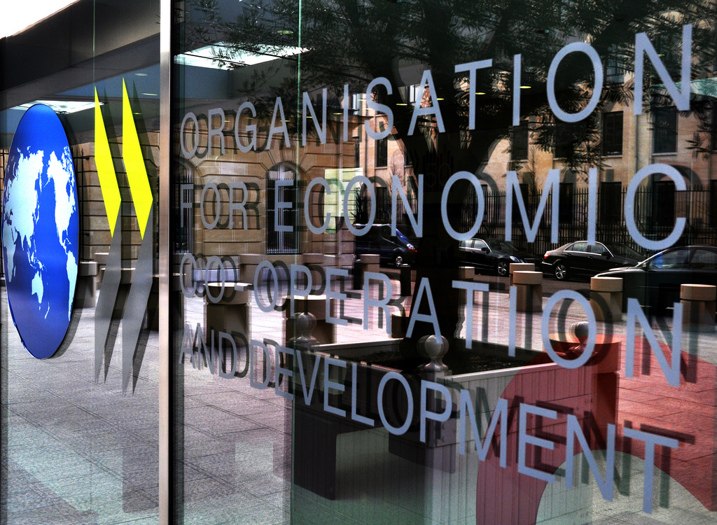 OECD Conference Centre Entrance, New 50th Logo/Banner