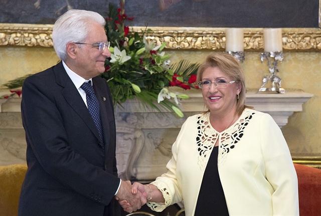 Il presidente della Repubblica Sergio Mattarella con la sua omologa maltese Marie Louise Coleiro Preca (Fonte: Quirinale)