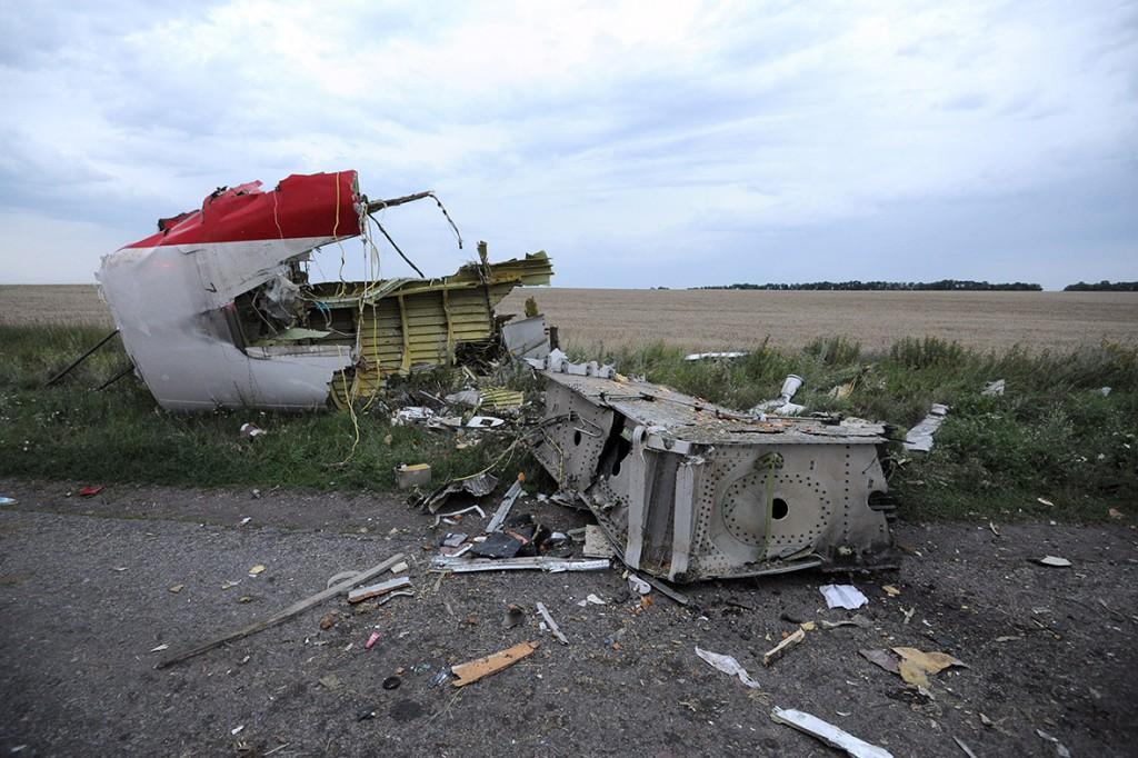 I resti dell'areo della Malaysia Airlines dopo l'abbattimento in Ucraina (luglio 2014)