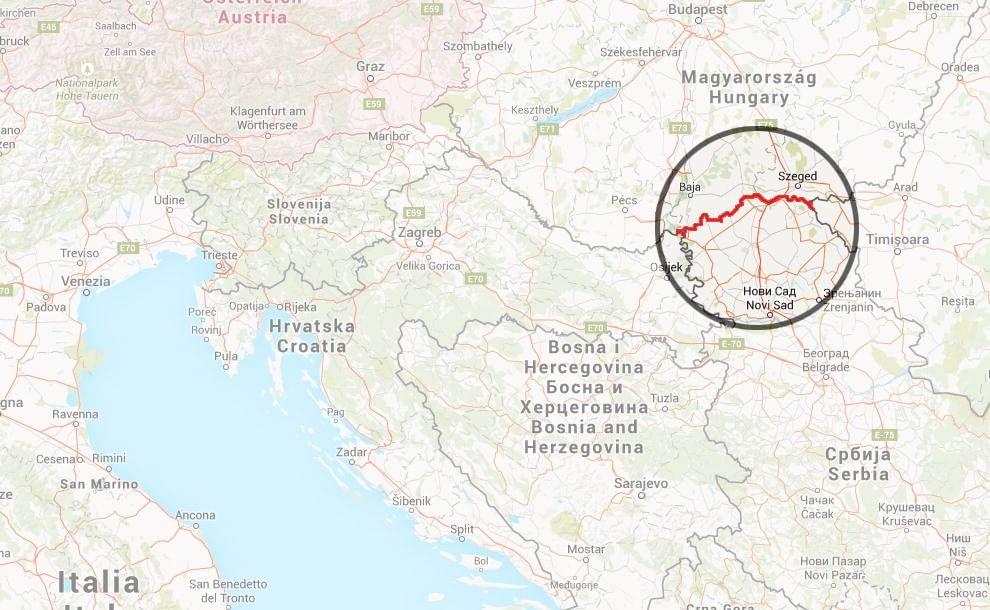 La frontiera fra Ungheria e Serbia lungo la quale verrà costruito il muro