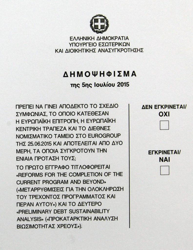 La scheda del referendum di domenica 5 luglio in Grecia