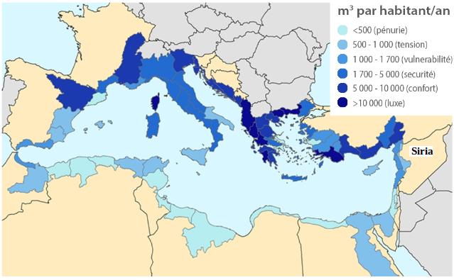 Risorse naturali di acqua rinnovabile per abitante nei principali bacini del Mediterraneo (fonte: Plan Bleu)