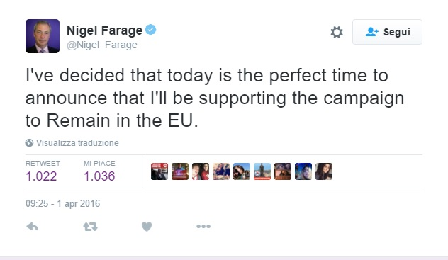 Farage Brexit pesce aprile