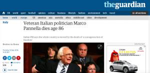 Il The Guardian ricorda Marco Pannella, il politico italiano scomparso il 19 maggio all'età di 86 anni