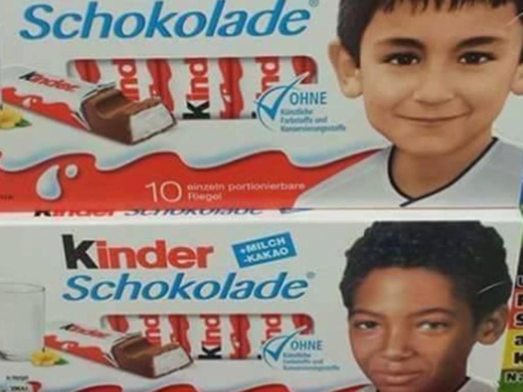 Le confezioni della Kinder che ritraggono i calciatori della nazionale tedesca da bambini in occasione degli Europei 2016