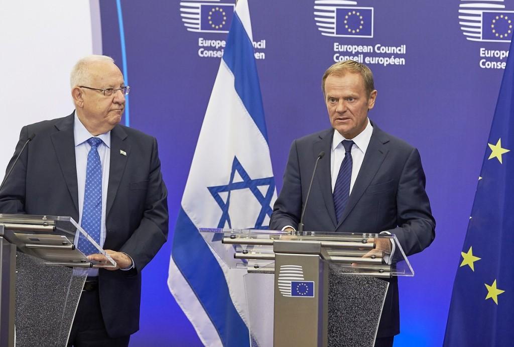 Donald Tusk con il presidente di Israele Reuven Rivlin - foto Consiglio Ue