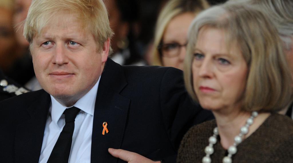 Da sinistra: Boris Johnson, ex sindaco di Londra e Theresa May, ministro degli Interni. Sono i probabili candidati alla successione di Cameron alla leadership del partito conservatore britannico