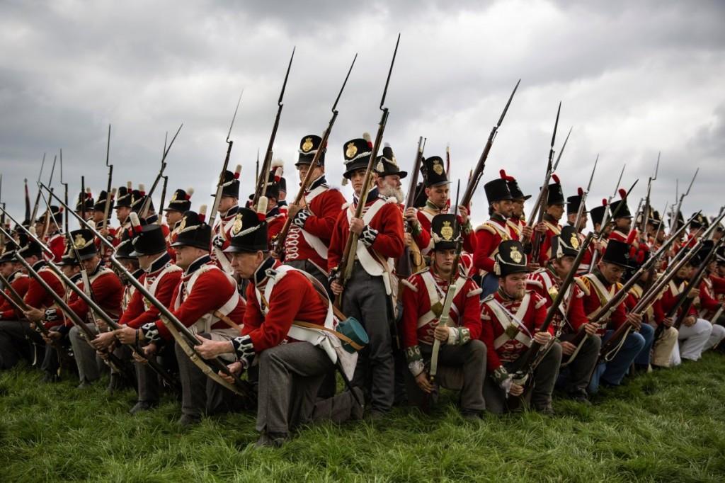 Una rievocazione storica della battaglia di Waterloo del 18 giugno 1815