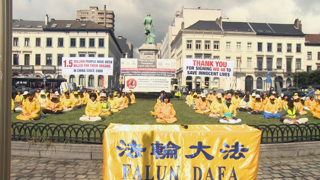 Falun Gong -demonstration-outside-EuropeanParliament-14-July-2016-1