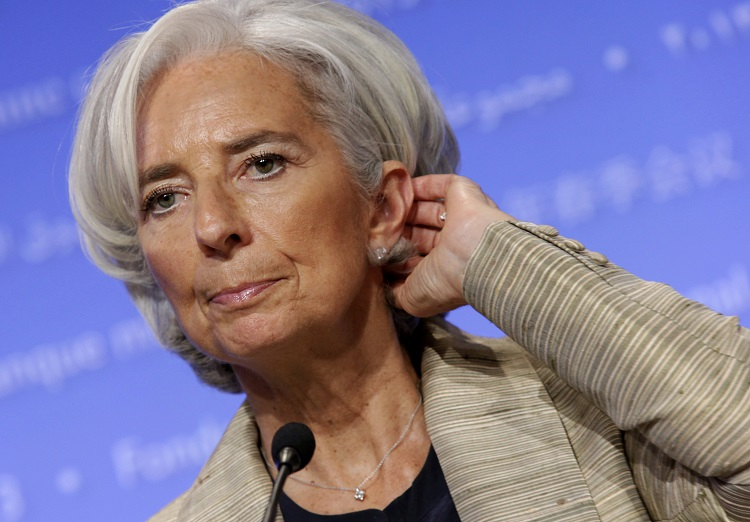 International Monetary Fund (IMF) Managing Director Christine Lagarde speaks at a news conference during the Spring Meeting of the IMF and World Bank in Washington
