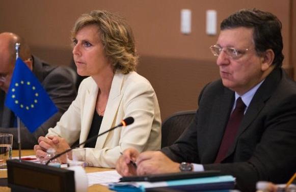 L'ex commissaria all'Azione cimatica Hedegaard con Barroso