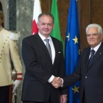 Il presidente della repubblica, Sergio Mattarella, riceve il suo omologo slovacco Andrej Kiska (fonte: Quirinale)
