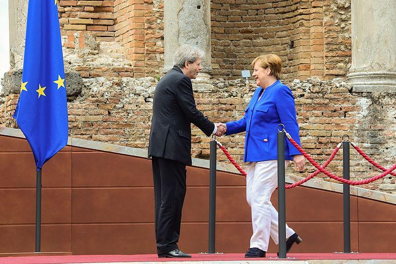 Paolo Gentiloni e Angela Merkel