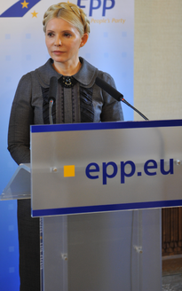 Yulia Tymoshenko at an Epp's podium