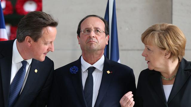 David Cameron, Francois Hollande and Angela Merkel