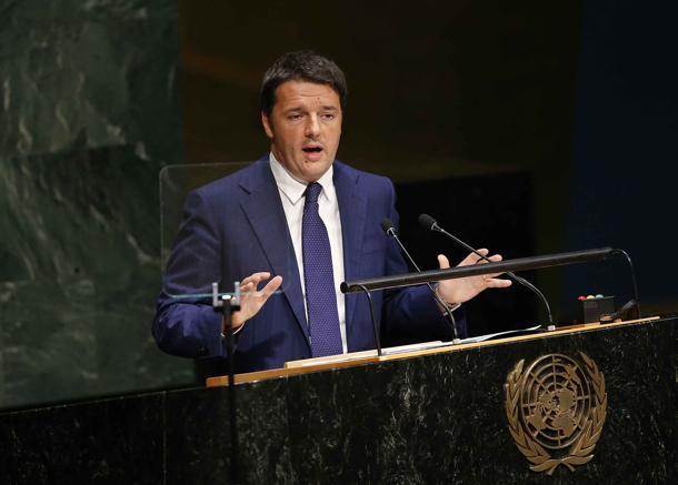 Matteo Renzi parla all'Assemblea dell'Onu