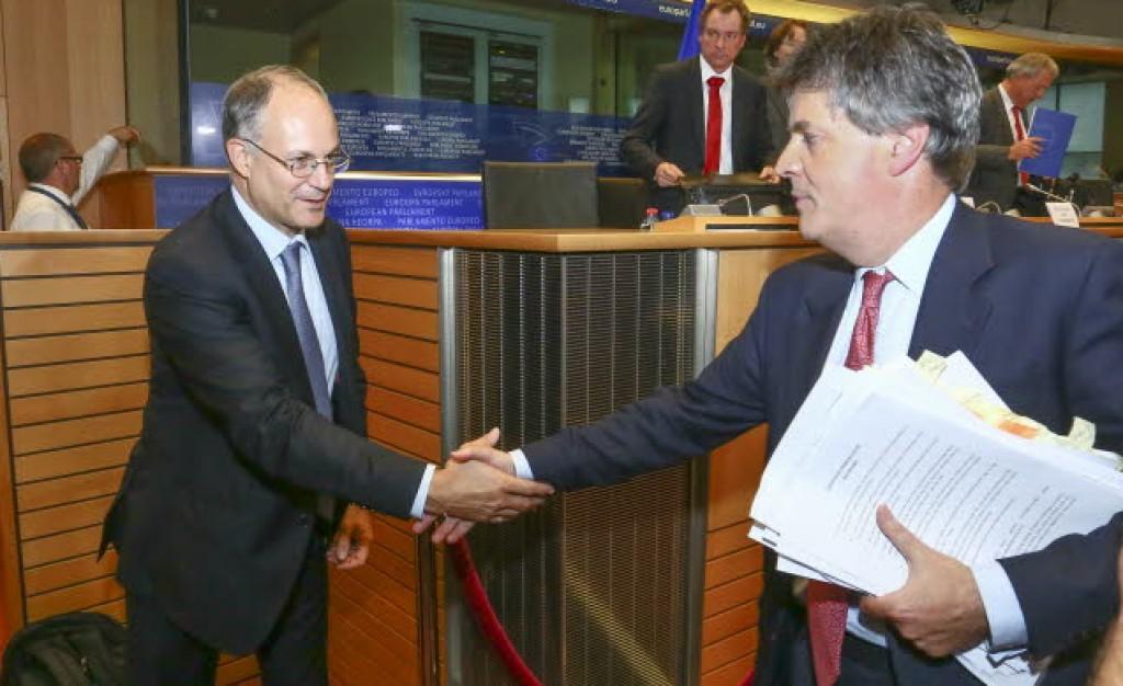 Il presidente della commissione economica Gualtieri e il commissario dsignato britannico Hill