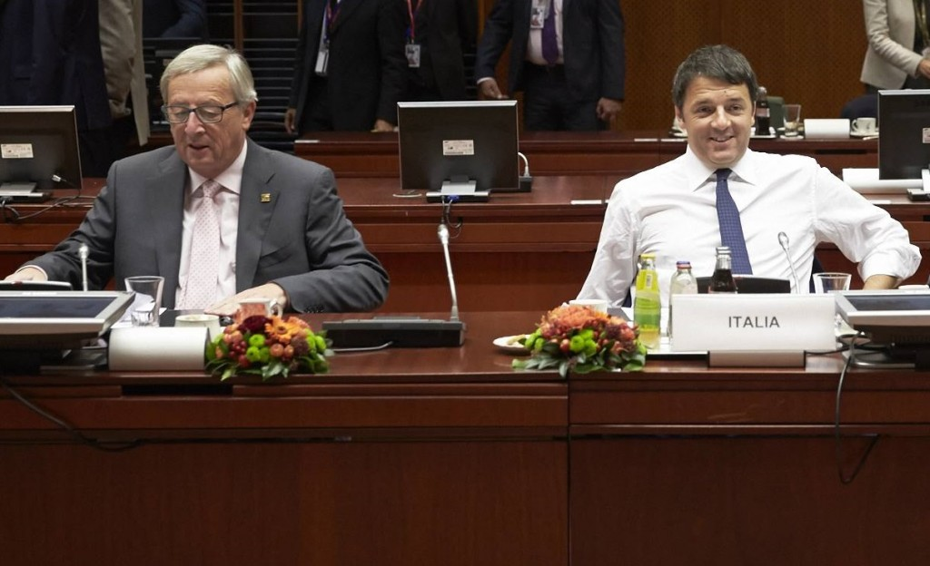 Juncker e Renzi al Consiglio europeo