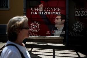 Manifesti elettorali di Syriza per le scorse europee in Grecia