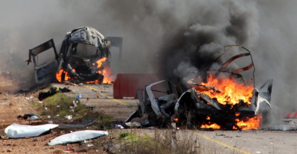 I veicoli israeliani colpiti
